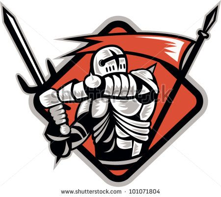Illustration of a knight templar crusader fighting wielding sword and spear flag done in retro woodcut style. - stock vector #knight #woodcut #illustration