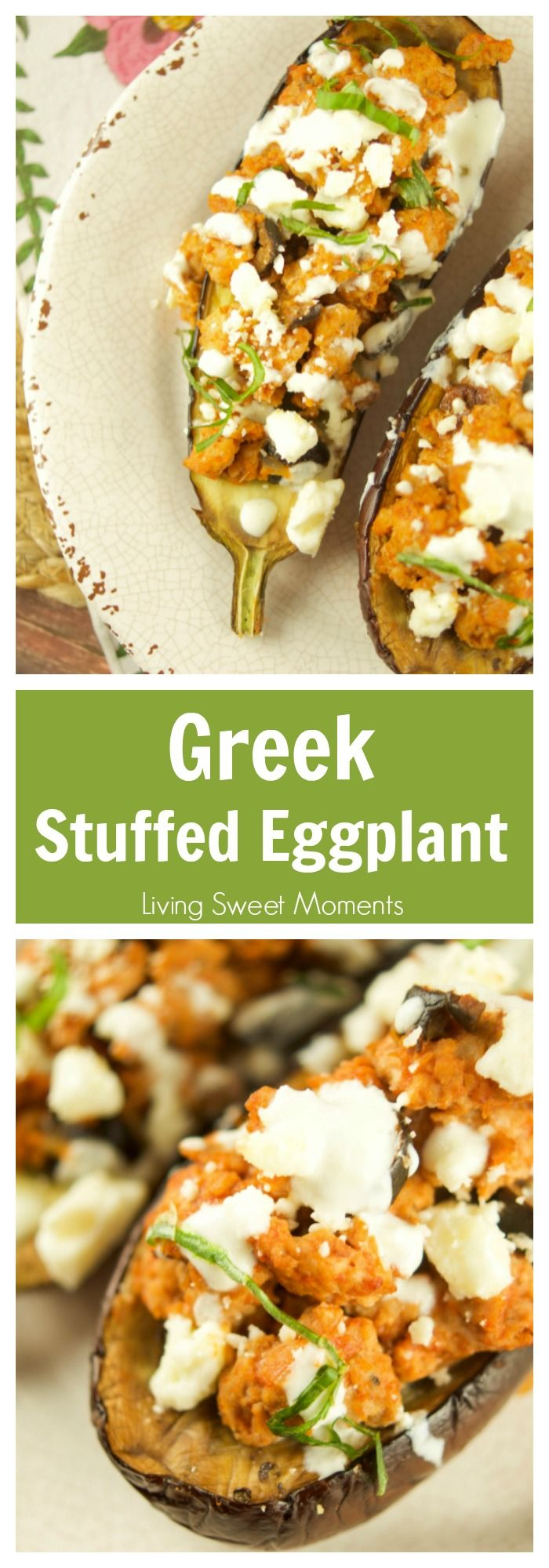This tasty Greek Stuffed Eggplant is made with meat, kalamata olives and topped with feta cheese and tzatziki sauce. The perfect quick weeknight dinner idea