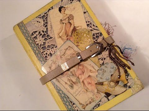 Altered Composition Book transformed - part 4 - into a Vintage Junk Journal - Flip through - YouTube