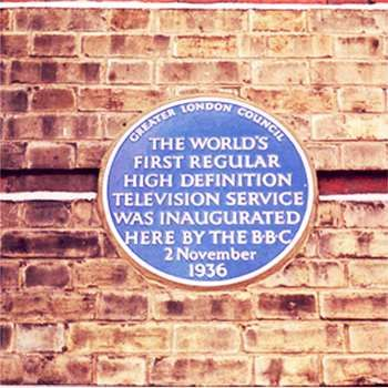 Plaque erected in 1977 by Greater London Council at Alexandra Palace, Wood Green, London N22 7AY, London Borough of Haringey