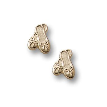 Gold Ballet Shoes Earrings for Girls - 14k Yellow Gold Screw Back Earrings for Baby, Toddler, Child
