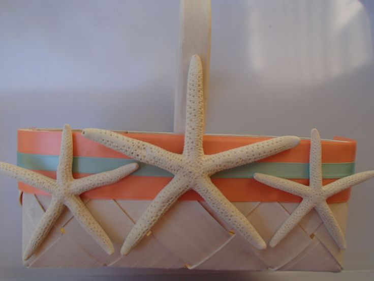 Starfish Beach Flower Girl Basket - Coral - Blue - Wedding - Tropical - Rustic