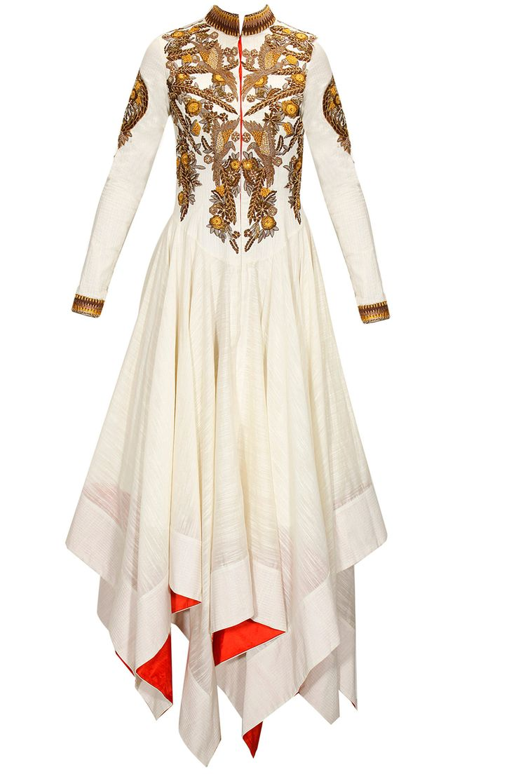 Off-white embroidered asymmertrical dress by Samant Chauhan. Shop now: www.perniaspopups... #dress #samantchauhan #shopnow #perniaspopupshop