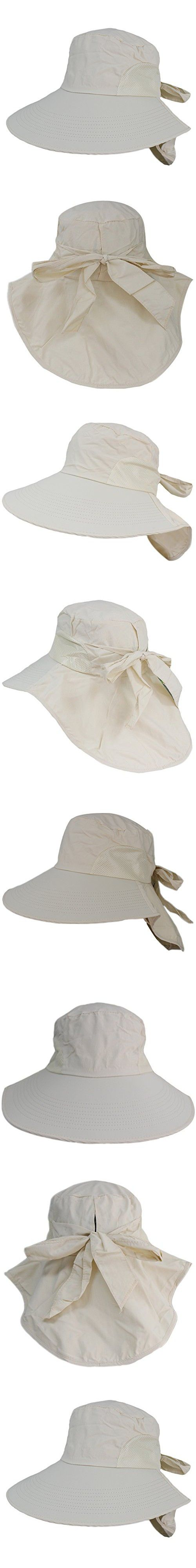 Women Wide Brim Floppy Mesh Beach Travel Sun Bowknot Face Neck UV Hat Visor Cap (Biege)