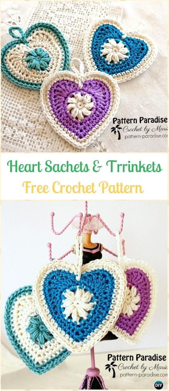 Crochet Puff Heart Sachets and Trinkets Free Pattern-Crochet Heart Applique Free Patterns