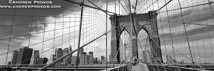 Panoramic View of Brooklyn Bridge with Suspension Cables (Black and White) - http://andrewprokos.com