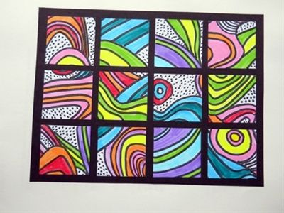 Do an art project with colors and lines, then cut it up and glue back on paper in a new arrangement.