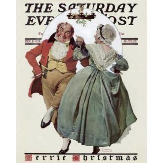 Christmas Dance (Merrie Christmas: Couple Dancing Under Mistletoe) Giclee Print