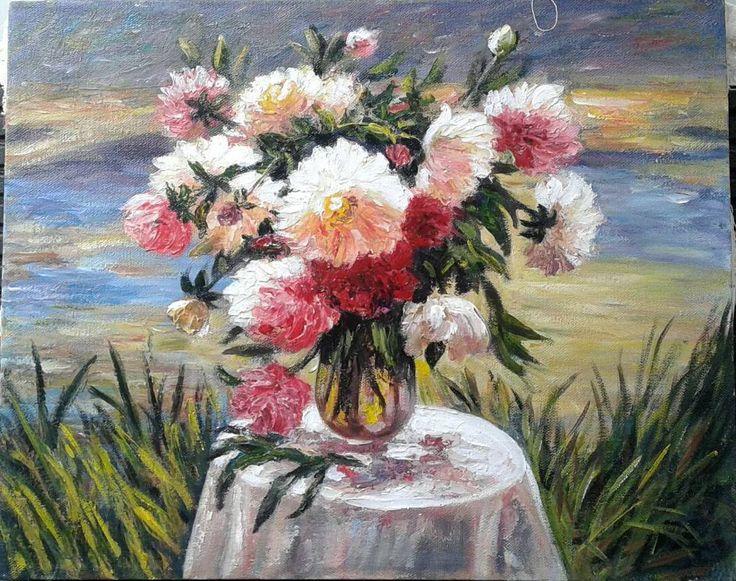 Peony , oil on canvas, 40x50 cm