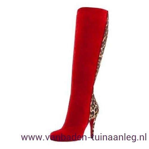 100mm Acheval Laarzen Red-Bottom Rood Luipaard Dames Christian Louboutin Kopen Korting