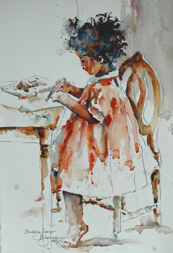 Budding Artist watercolor by Bev Jozwiak