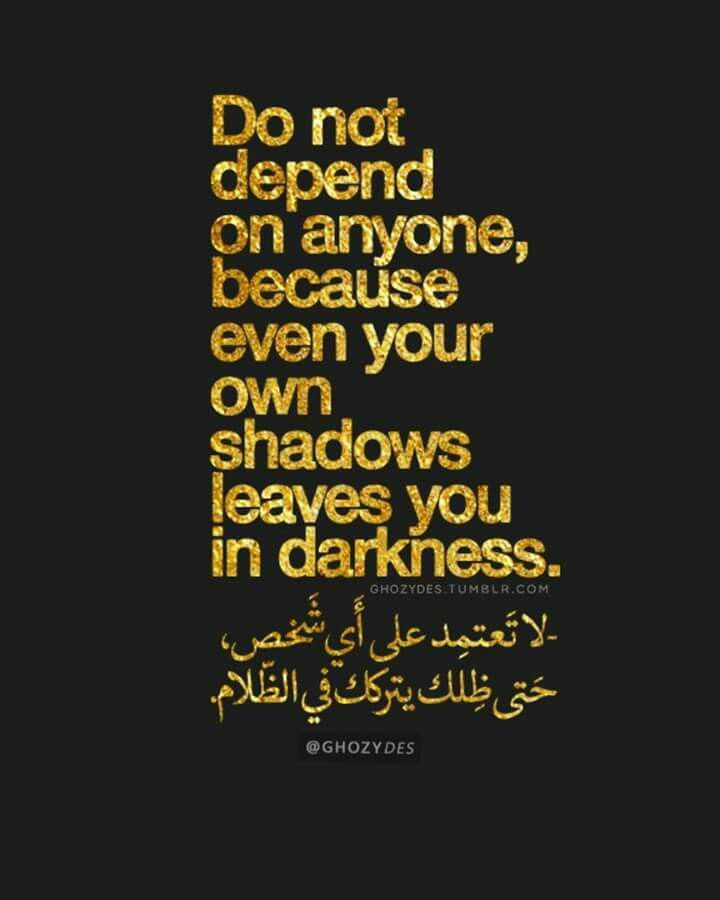 Do Not Depend On Anyone Because Even Your Own Shadows Leaves You In