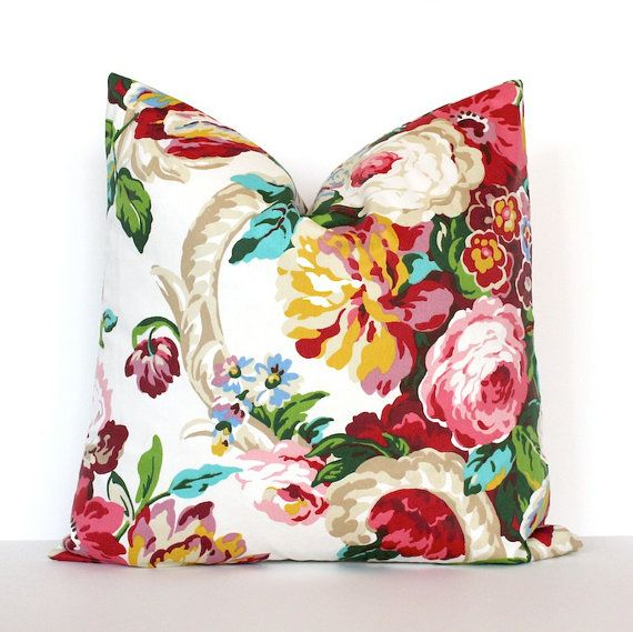 132 best cushion images on pinterest pillows tapestry and accent pink green teal floral designer pillow cover accent cushion flowers english garden yellow red blue purple spring botanical chintz blossoms mightylinksfo