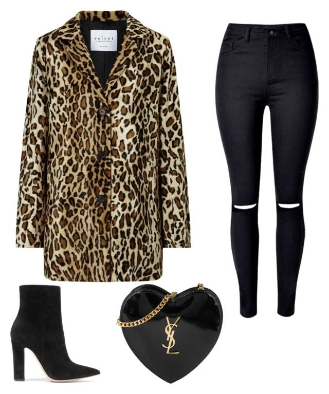 Leopard print coat sexy winter look by champagne369 on Polyvore featuring polyvore fashion style Velvet WithChic Gianvito Rossi Yves Saint Laurent clothing