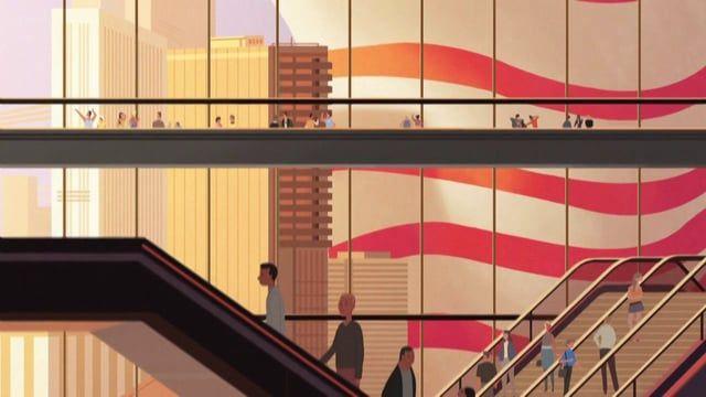Un parcours dans les rues d'une mégalopole révélée à travers un jeu de lignes…