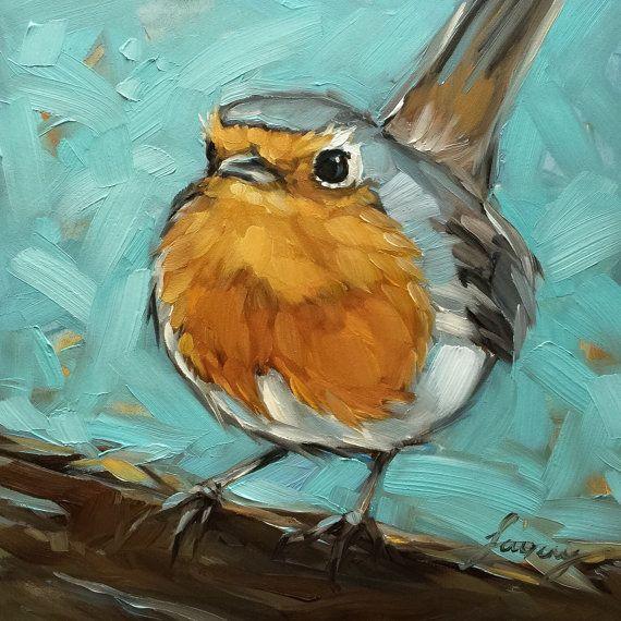 Robin painting 6x6 impressionistic original oil por LaveryART