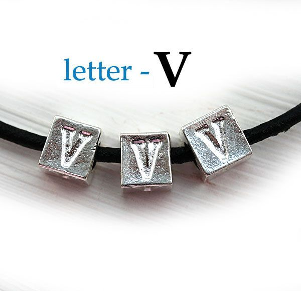 Silver Letter V - Alphabet Letter Beads, 7mm, greek metal letters, cube beads, for leather cord, personalized, 3pc - F321 by MayaHoney on Etsy