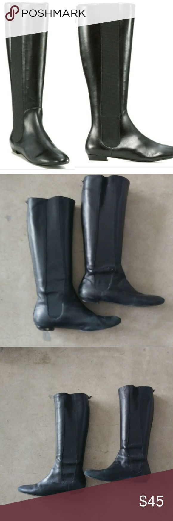 Delman Paris Flat Knee Boots 9.5 Used condition see pics. Heels are worn and could use cobbler. Leather in good condition. See pics, one scratch. A but dusty but no salt damage. Side elastic panels and back zip. Delman Shoes Combat & Moto Boots