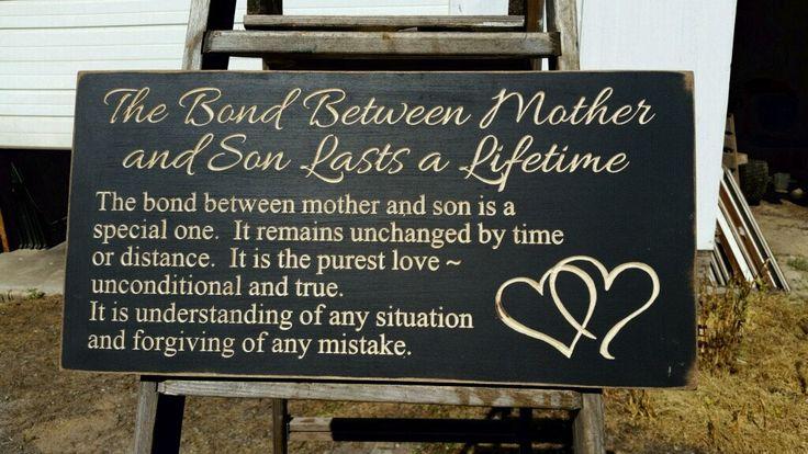 """Aangepaste gesneden houten Sign - """"Een leven lang duurt de band tussen moeder en zoon"""""""