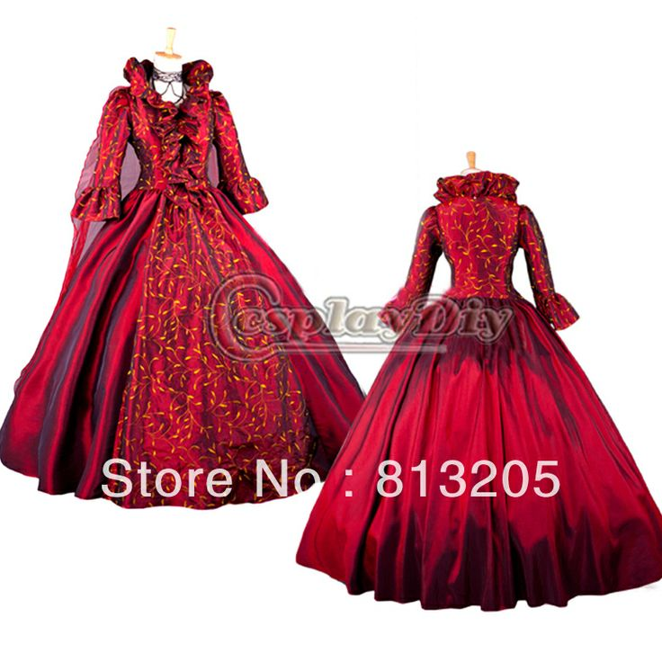 Cheap Long Sleeve Stand Collar ROCOCO Ball Grown Gothic Medieval Victorian Red Dress Costume US $109.98
