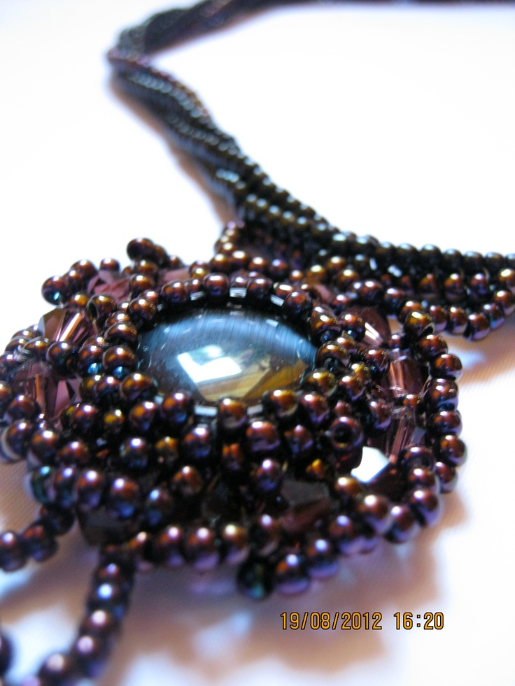 close view of purple pendant