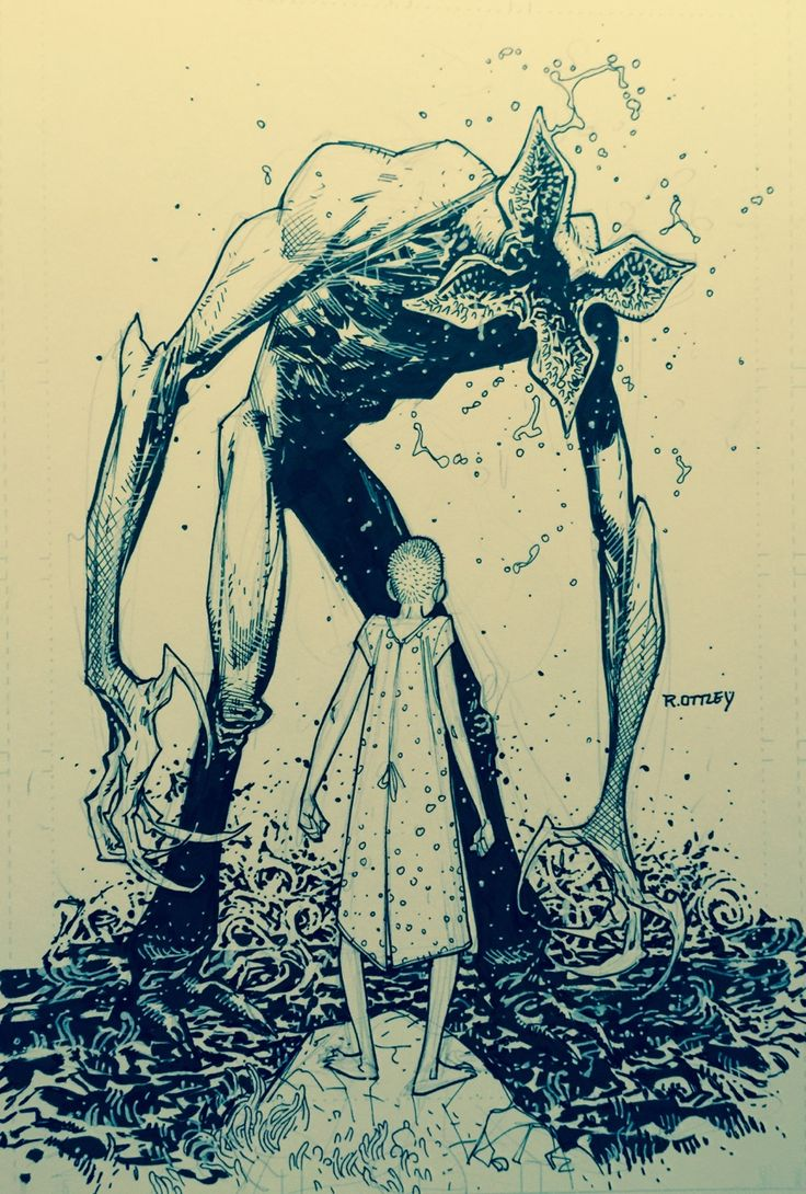 """""""At our local draw night I just had to draw some fan art from Stranger Things."""" (Eleven and the Demogorgon by Ryan Ottley)"""
