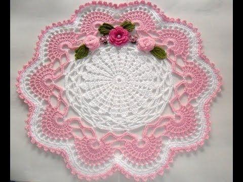 Flor em Crochê para Aplicação no Centro de mesa versão Iniciante - YouTube