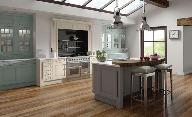 Jefferson Kitchen on full display soon at Homestyle finished in Painted Dust Grey & Light Grey with solid Wenge Worktops