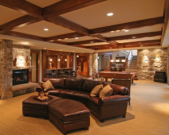 Basement log cabin design pictures remodel decor and for Log cabin basement ideas
