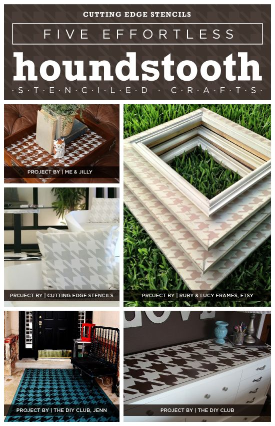 Beautiful Five Effortless Houndstooth Stenciled Crafts Good Ideas
