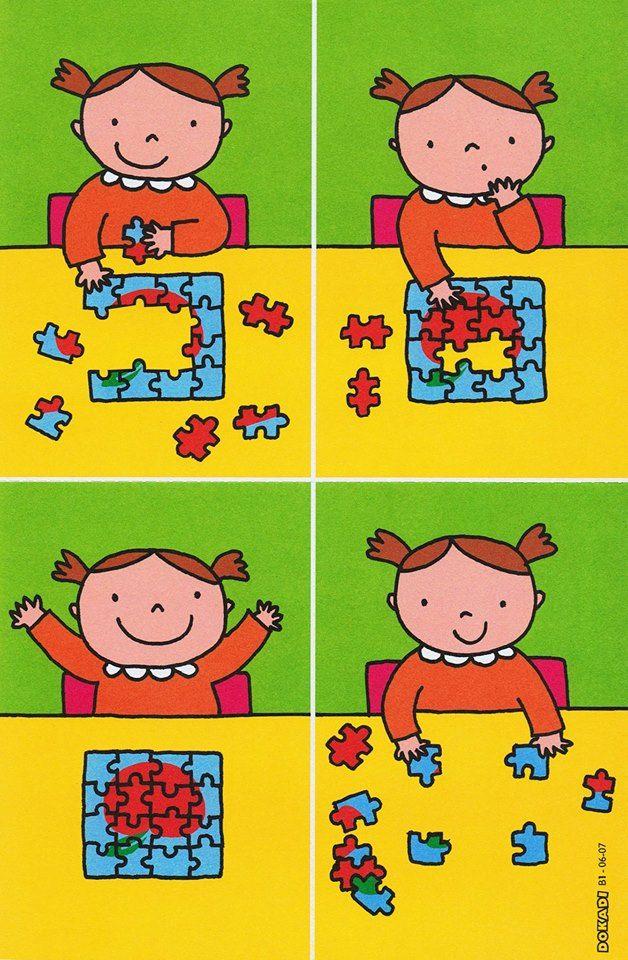 Puzzelen: stappenplan. Wel zo veranderen dat het 4e kaartje vd hoekjes het eerste kaartje is!!!
