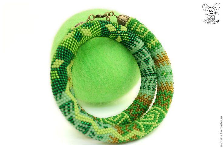 Купить Изумрудно-мятный жгут из японского бисера - зеленый, жгут из бисера, изумрудный цвет