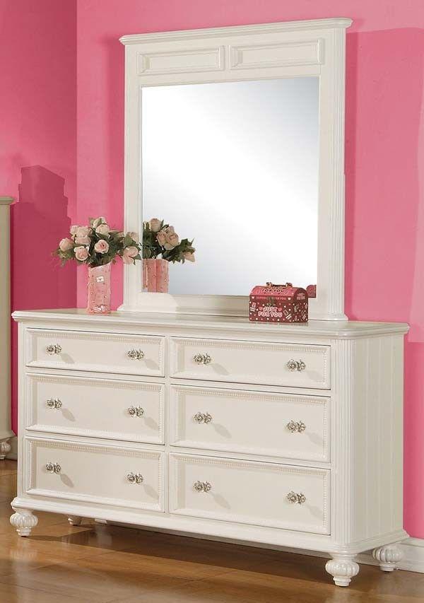 acme furniture athena white 6 drawer dresser with raised panel detailing