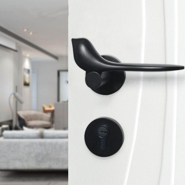 Modern Simple Fashion Interior Room Door Lock Black Split Mechanical Mute Solid Wood Bedroom Door Lock Creative Bird Hand Bedroom Doors Door Handles Room Doors