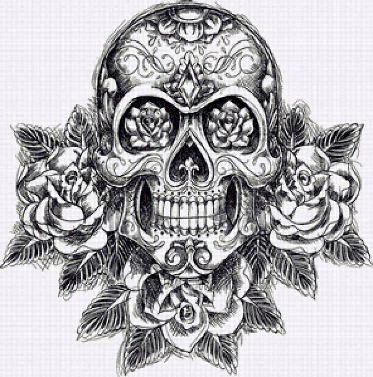Схема вышивки крестом скелета