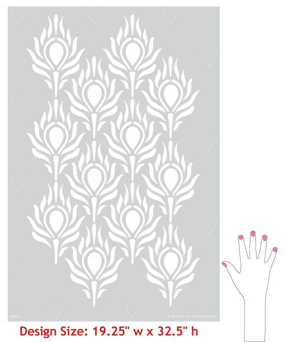 Peacock Feather Wall Stencil Large Peacock by royaldesignstencils