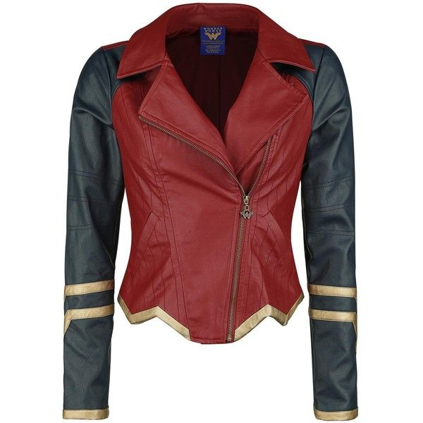 Wonder Woman Imitation Leather Jacket (£68) ❤ liked on Polyvore featuring outerwear, jackets, red faux leather jacket, vegan leather jacket, red jacket, faux-leather jacket and vegan jackets