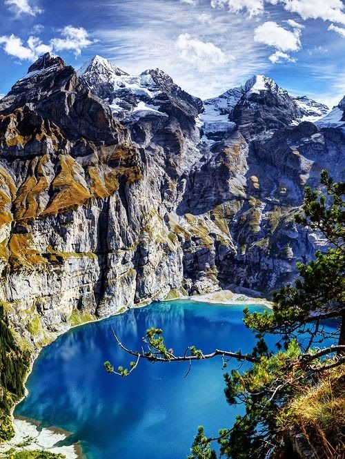 Lake Oeschinen, Switzerland  The Oeschinen Lake near Kandersteg in the Bernese Oberland is no doubt one of the most beautiful mountai...