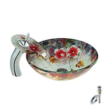 şelale musluk, montaj halkası ve su tahliye ile çiçek yuvarlak temperli cam kap, lavabo (0888-c-rinde-6544-wf) - USD $ 220.49