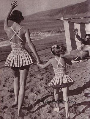 Shirred skirted swimsuits for mommy and daughter. Both are from Catalina 1959