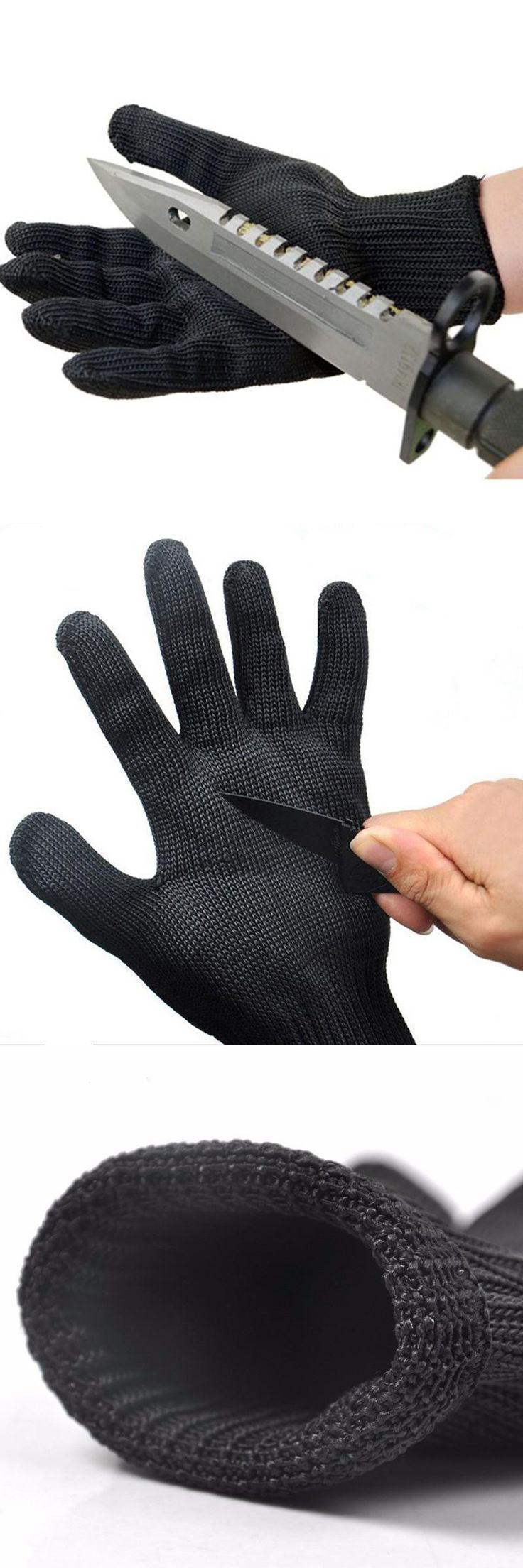 [Visit to Buy] 1Pcs Anti-cut Anti-slip Outdoor Hunting Fishing Glove Cut Resistant Protective Hand Protection Mesh Glove #Advertisement