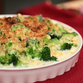 Carla Hall's Broccoli Gratin ingredients 2 large bunches of Broccoli (about 3 pounds florets)5 tablespoons Butter4 tablespoons All-Purpose Flour4 cups Milk2 teaspoons Salt1 teaspoon chopped fresh Thyme1/4 teaspoon freshly grated Nutmeg1 1/3 cups grated Gruyere Cheese1/3 cup dry seasoned Bread Crumbs1/4 teaspoon ground Black Pepper