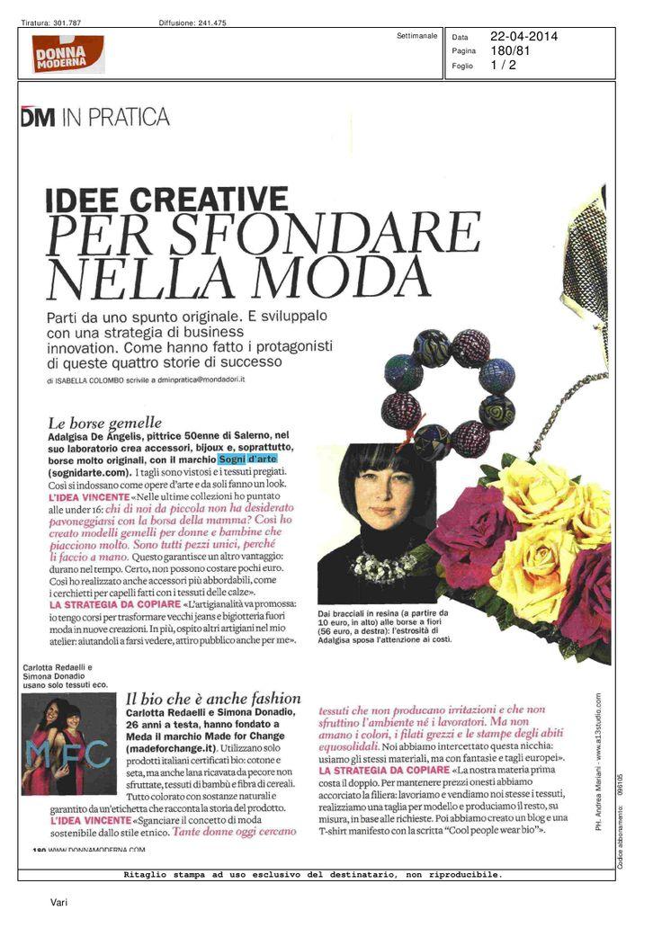 una mia intervista su Donna Moderna  www.sognidarte.com ufficio stampa Manuela Caminada