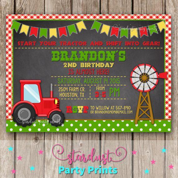 Tractor Birthday Invitation Farmer by StardustPartyPrints on Etsy