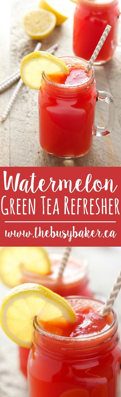 This Watermelon Green Tea Refresher is the perfect healthy non-alcoholic cocktail for Spring! Recipe from thebusybaker.ca!