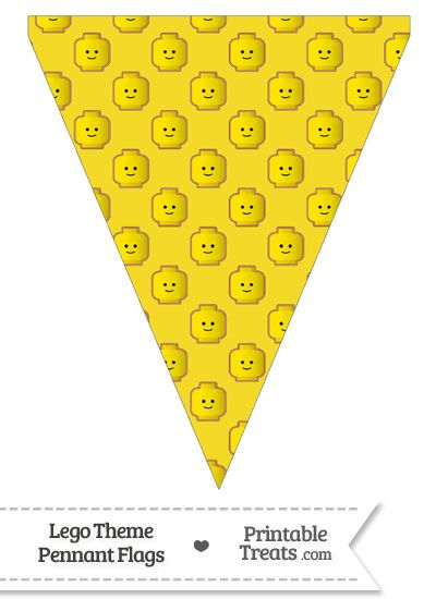 Yellow Lego Theme Pennant Banner Flag--- https://www.pinterest.com/printabletreats/lego-theme-printables/
