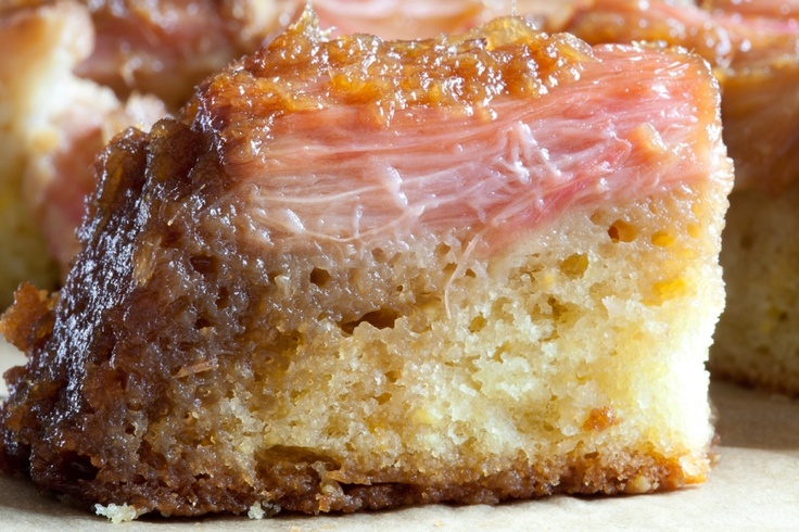 Rhubarb Upside-Down Cake.  Just what it sounds like--and really good.: Upsidedown Cakes, Rhubarb Rose, Pale Pink, Upside Down Cakes 1 82, Pink Rhubarb, Rhubarb Upsidedown, Rhubarb Cakes, Rose Cakes, Rhubarb Upside Down