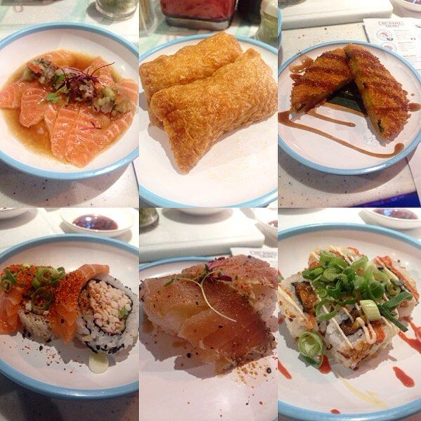 Hitting up @yosushi with @milliecamp was a great decision. #BlueMonday today I had #salmon & #yuzu #tataki #inari (#beancurd) skin roll #pumpkin #katsu  and then the #dragon roll #tuna and #dynamite roll. Actually in #foodie heaven!! #food #foodenvy #foodporn #foodstagram #instafood #instacollage by likefoolsinlove