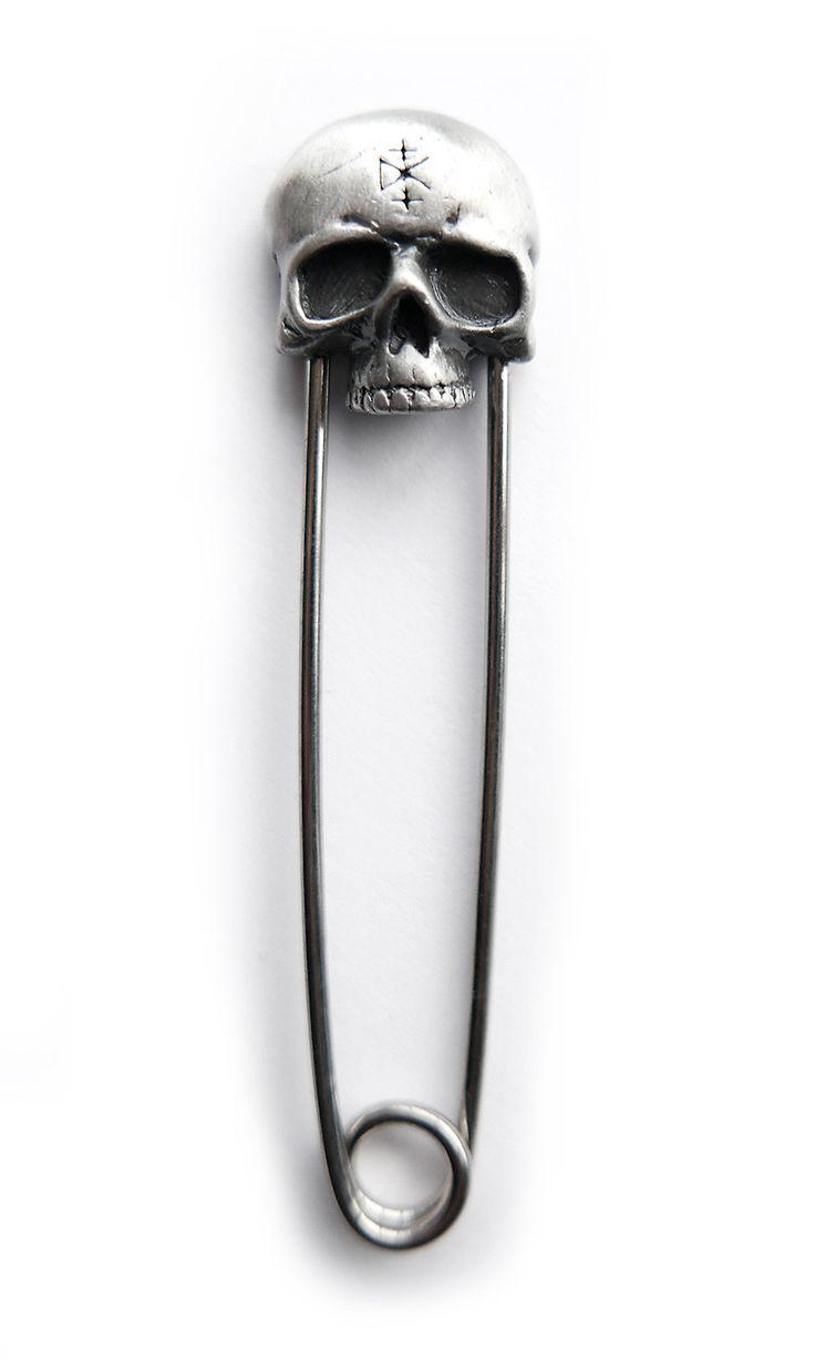 Skull Safety Pin #disturbiaclothing disturbia metal silver alien goth occult grunge alternative punk