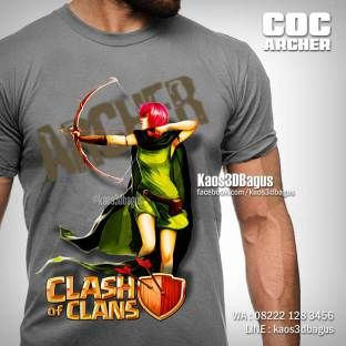Kaos COC, Kaos 3D, Kaos COC ARCHER, Clash Of Clans, Kaos3DBagus, https://www.instagram.com/kaos3dbagus, LINE : @kaos3dbagus, WA : 08222 128 3456